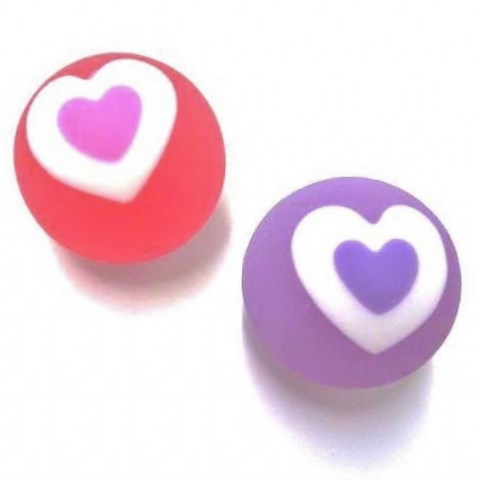 24 x Small Love Hearts Bouncy Jet Balls - RED & PURPLE